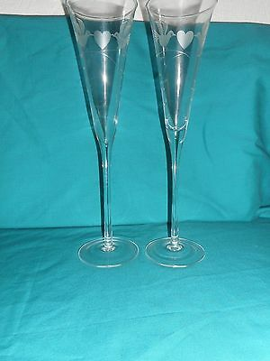 Pair Of Fluted Wedding Wine,  Champagne Glasses With Doves
