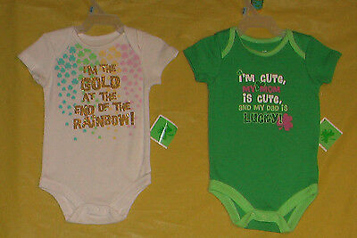 Shamrock (New) Infant (Size 0-3) Lot Of 2 One Piece Outfits White-Green
