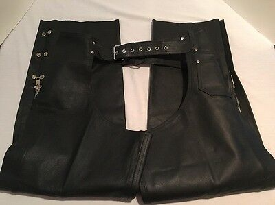 """Black Leather Motorcycle Riding Chaps Mens Size 3XL Adjustable Waist 41""""-47""""x30"""""""