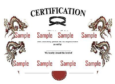 Martial Arts Certificate Templates CD to Use, Customise and Print for Your Club
