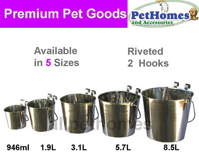 Stainless Steel FLAT SIDE Water Bucket/Bowl DOG BIRD CAT NEW [5 Sizes]