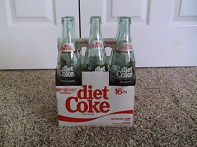 Vintage 6 pack of DIET Coca-Cola ACL Soda Bottles with Cardboard Carrier 16 oz.