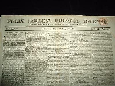 Felix Farley's Bristol Journal 1815 antique newspaper death of Lady Hamilton