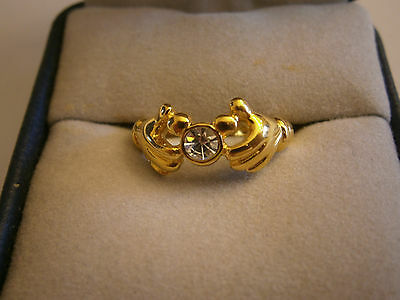 Disney Mickey Mouse Hands Gold Filled Ring Size 5 Crystal Accent Jewelry