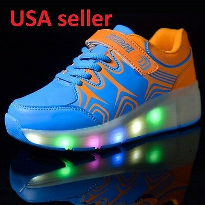 NEW! Boys Girls LED Light Shoes Kids Retractable Wheel Roller Skate Sneakers 12