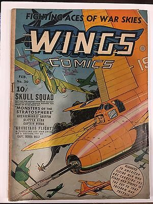 Wings Comics #30 Vg Golden Age Comic Bv $100