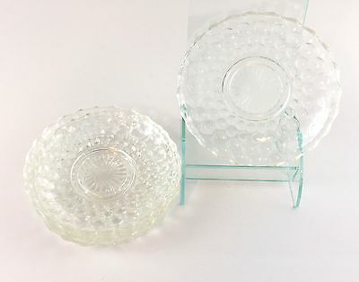 """Vintage Anchor Hocking Clear Depression Glass Bubble Saucer Plates (4) ~ 5.5"""""""