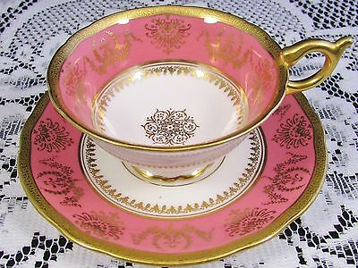 Coalport Hot Pink Etched Gold Band Fancy Design Tea Cup And Saucer