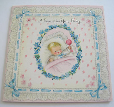 Used Vtg Little Baby Gift Card Glittery Card w Smiley Baby & Rattle