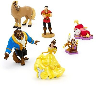 Set 6 Beauty And The Beast Figurine Set Static Belle Gaston Cogsworth Collection