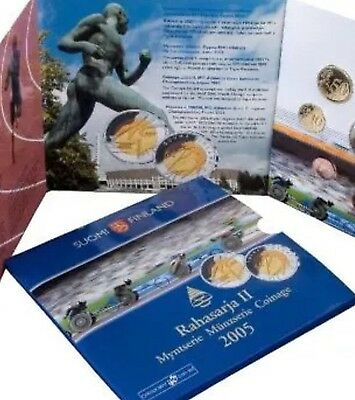 Finland Euro Coin Set Folder All 1cent To 2€ Coins Plus 5€ Coin Olympic 2005 KMS