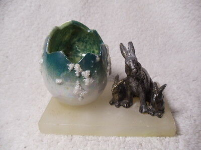 Antique Easter Luster Egg With Pewter Rabbits