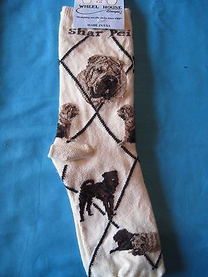 SharPei Chinese SharPei Socks Cream Size Medium by Wheelhouse Design NWT