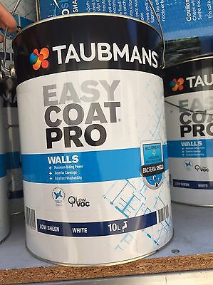 Taubmans Easy Coat Pro Walls Low Sheen White 10L Wall Paint
