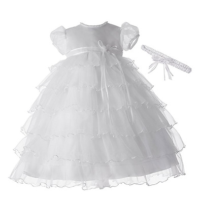 Lauren Madison girl Christening Baptism Multi Tiered Gown With Satin Bodice,0-3M