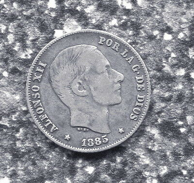Philippines - Beautiful Alfonso Xii Silver 20 Centimos, 1885