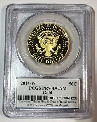 2014 W 50th Anniversary Kennedy Half Dollar Gold PROOF PCGS PR70 DCAM First Stke