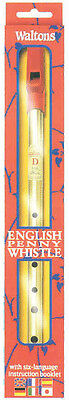 """WALTONS """"English"""" tin whistle. Deluxe brass whistle with instruction leaflet"""