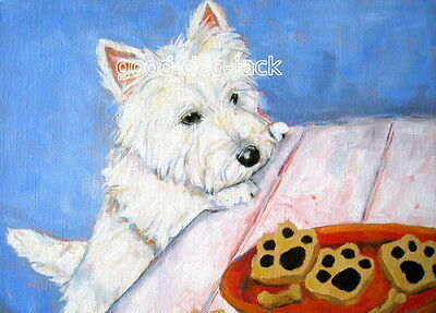 """West Highland Terrier ACEO WESTIE PRINT Painting """"COOKIES!"""" Dog Art RANDALL"""