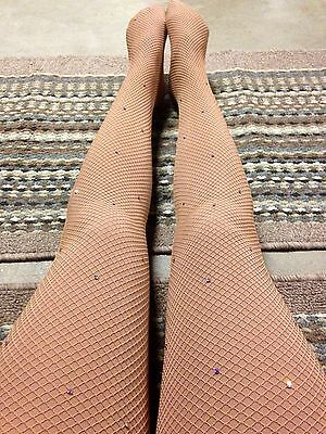 Capezio Fishnet Tights Suntan With Rhinestones Size Med/Tall 3000