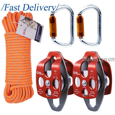 For 4:1 and 5:1 Twin Sheaves Block and Tackle Pulley System Hauling Dragging Use