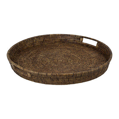 Natural Rattan Wicker Round Tea Coffee Serving Tray - Large