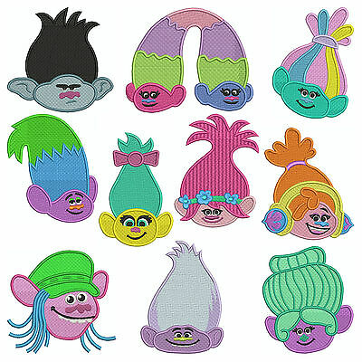 * TROLLS * Machine Embroidery Patterns * 10 Designs, 3 sizes