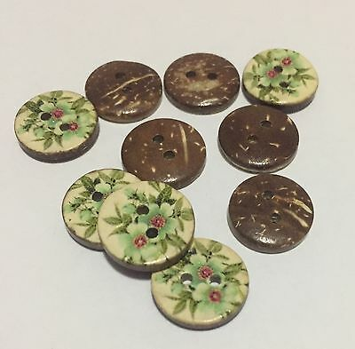 10 X 15mm Coconut Shell Buttons with Painted Flower - Australian Supplier