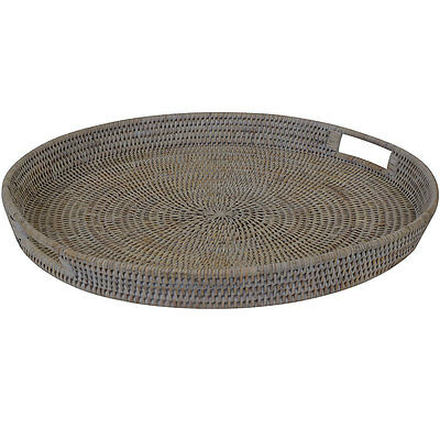 Natural White Wash Rattan Round Tea Coffee Serving Tray - Large
