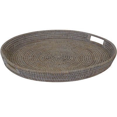 Natural White Wash Rattan Wicker Round Tea Coffee Serving Tray - Large