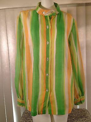 Vintage Womens 1960s Striped Sheer Cotton Weave Top Tunic Shirt Blouse Mod