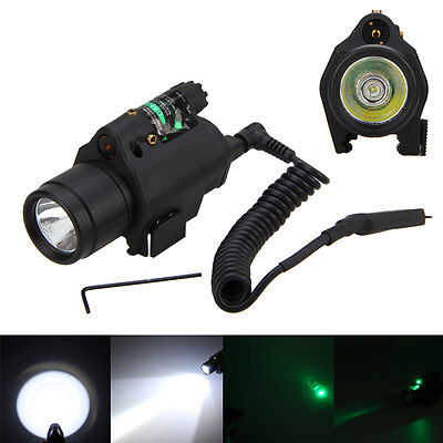 Combo LED Tactical Flashlight + Green/RED Laser Sight Scope Picatinny Mount