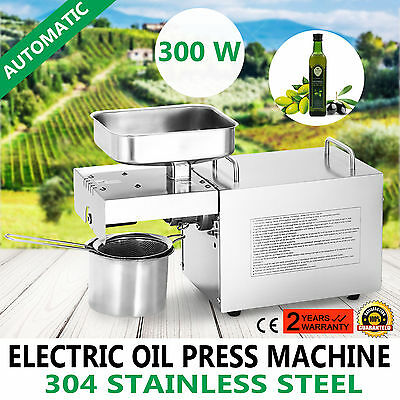 300W Oil Press Machine Hot Cold Seed Pressing Auto Expeller Extractor 110V