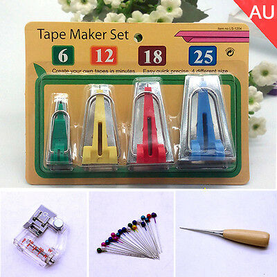 AU 16PCS Bias Binding Tape Maker Tip Kit Set 6/12/18/25mm Sewing Quilting tools