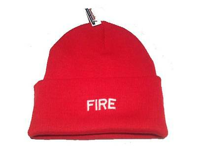 FIRE Beanie Woolly for Firefighter Rescue Officer Retained Red Hat White Fireman