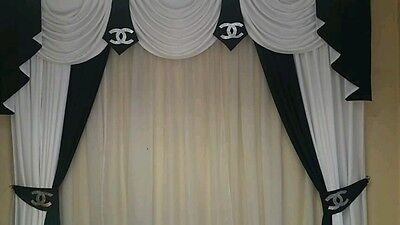 swags/tails curtains Ivory/blk ONLY 90X60X84    PRICE IS FOR THIS COL AND SIZE