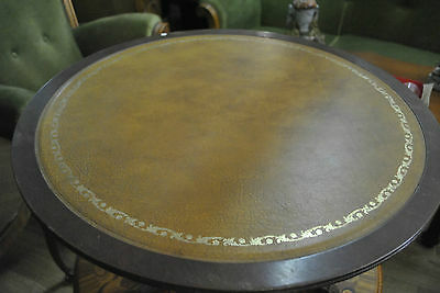 VINTAGE LEATHER TABLETOP COFFEE TABLE with 3 LEGS, FLORAL PATTERN