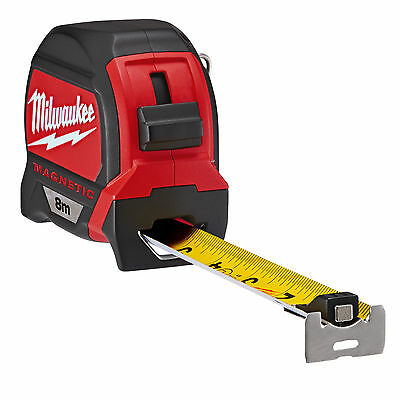 Milwaukee 48227308 8m Measuring Tape Dual Magnetic Hook Architect Scale Metric