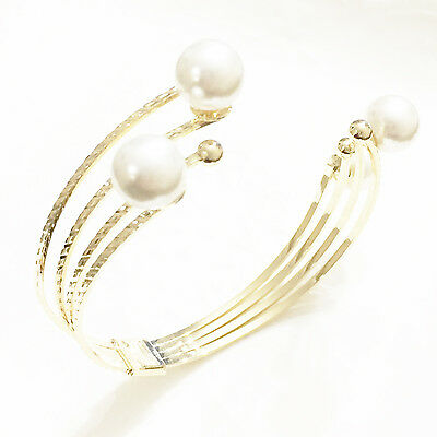 Gorgeous Large White South Sea Pearl Cuff Bangle Bracelet 14K Yellow Gold Plated