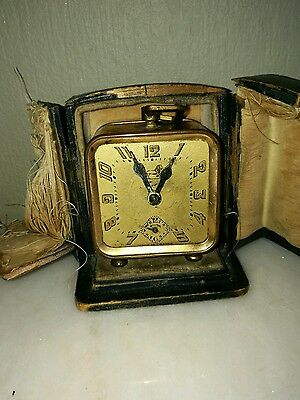 Antique French Cased Ladies Wind Up Art Deco Traveling Alarm Clock By Brevete