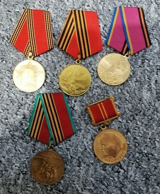 Set of 5 Original  Russian USSR Soviet orders medals pin badges.