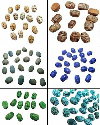 12 Egyptian Carved Scarab XS Ceramic Lucky deluxe Stone Pendants Beads  (205)