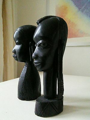 Vintage  Pair of African Hand Carved Hard Wood Busts of Man & Women