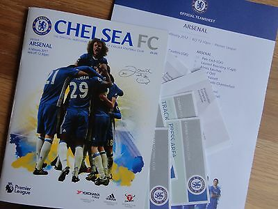 CHELSEA V ARSENAL-FEB 4th 2017-UNREAD MATCHDAY PROGRAMME+TEAMSHEETS+6 PASSES