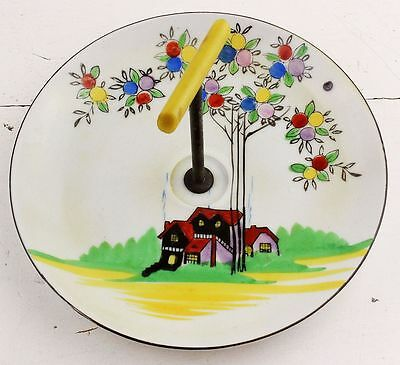 Vintage Hand Painted Stemmed Cake Serving Plate High Tea Art Deco China 40s 50s