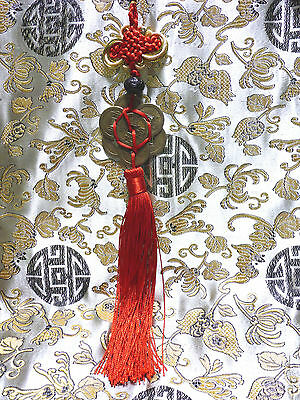 7 Lucky Chinese Coins Feng Shui Red Circle Tassel Good Fortune Prosperity