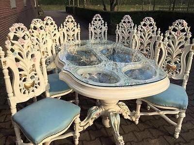 antique dining room set, table with 8 chairs in Italian style