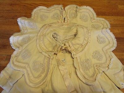 Antique Vintage Victorian Hand-made Wool Child's Baby Coat pale yellow unisex