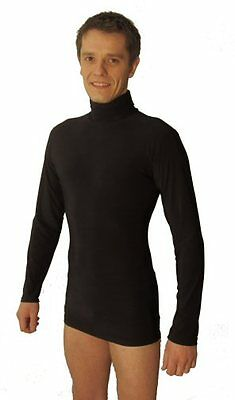 Mens Stretchy Dance Practice Polo Neck Top . Black