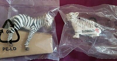 Schleich WHITE TIGER CUB STANDING and ZEBRA CALF STANDING New with Tag